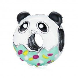 Sterling silver charm Panda donut