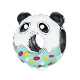 Zilveren bedel Panda donut