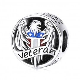 Sterling silver charm Veteran stay strong