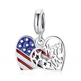Sterling silver pendant charm Happy 4th of July