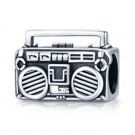 Zilveren bedel Retro radio