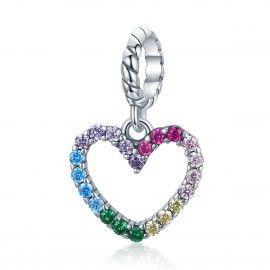Zilveren hangende bedel Regenboog van de liefde