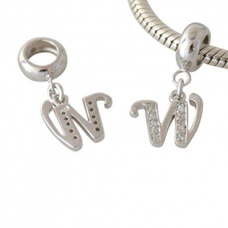 Zilveren hangende bedel letter W