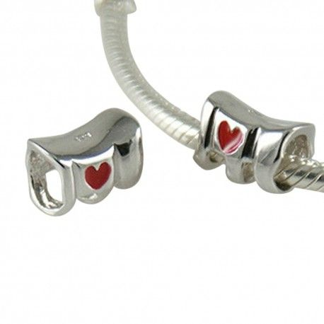 Silver charm with enamel