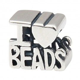 Sterling silver charm I love beads