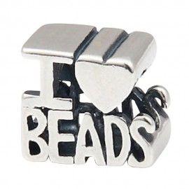 Zilveren bedel I love beads