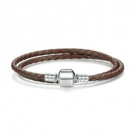 Double braided leather charm bracelet