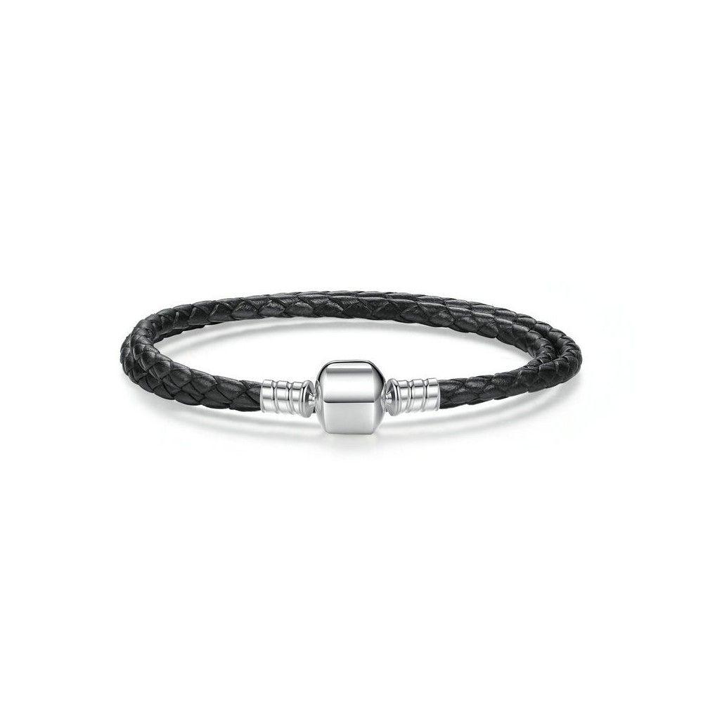 Double braided leather charm bracelet