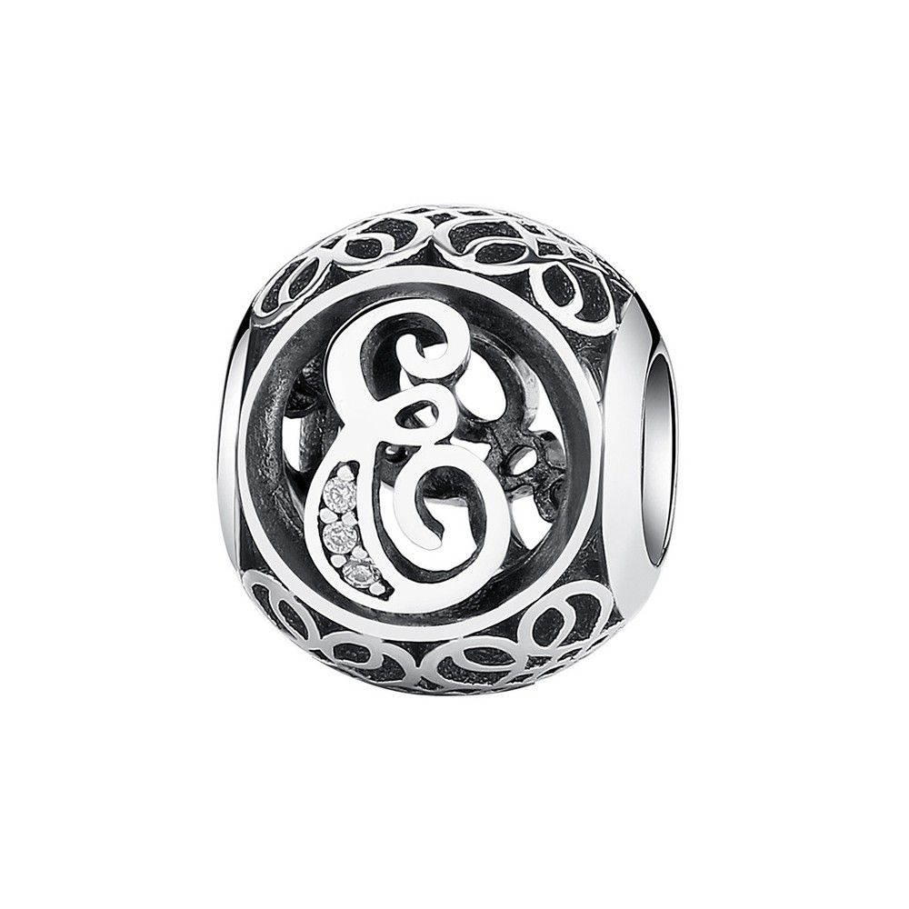 Sterling silver charm with zirconia stones letter E