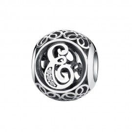 Sterling Silber Charm / Element Buchstabe E mit Zirkonia Steinen