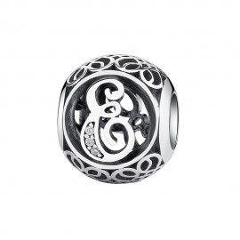 Zilveren bedel letter E met zirkonia steentjes