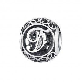 Zilveren bedel letter F met zirkonia steentjes