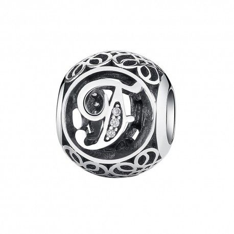 Sterling silver charm with zirconia stones letter F