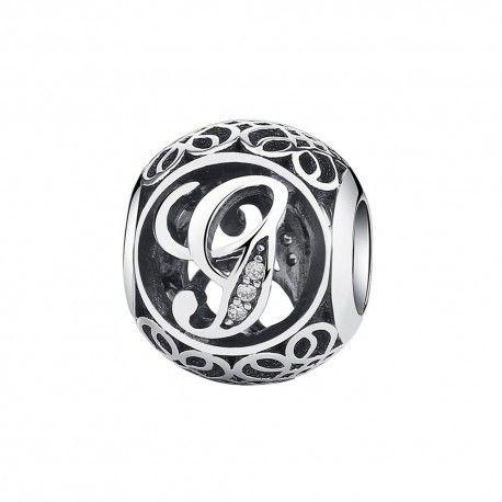 Zilveren bedel letter G met zirkonia steentjes