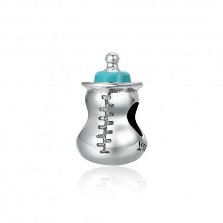 Zilveren bedel baby melkfles