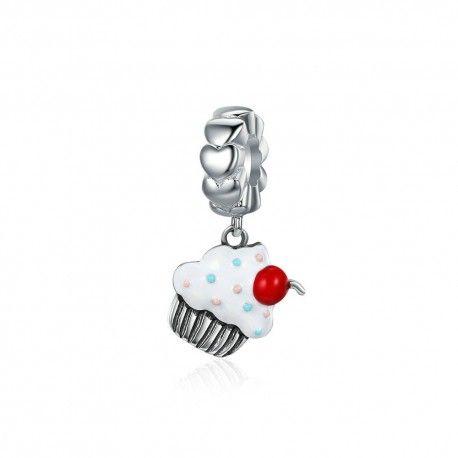 Silver pendant cherry cream cupcake