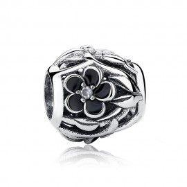 Zilveren bedel mystieke bloem