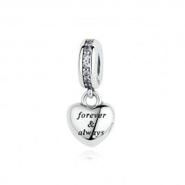 Sterling silver pendant charm forever & always my beautiful wife
