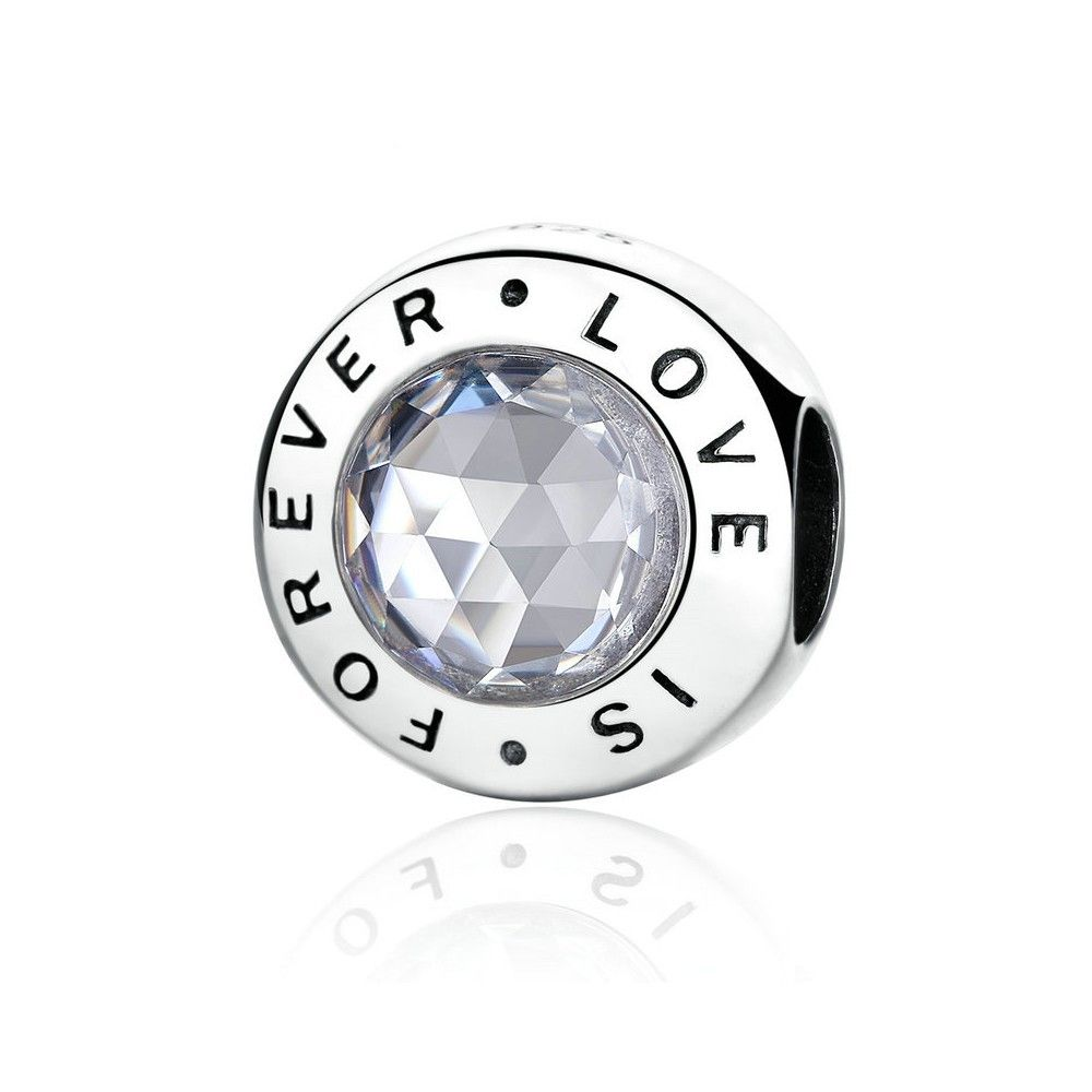 Sterling silver charm love is forever