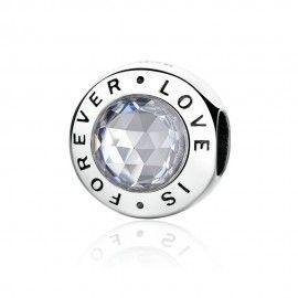 Zilveren bedel liefde is voor altijd
