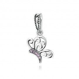Charm en argent papillon avec de la zircone rose