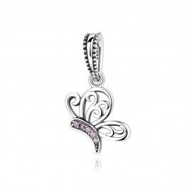 Sterling silver pendant butterfly with pink zirconia