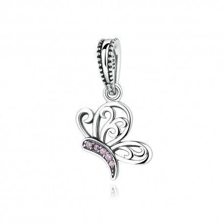 Zilveren bedel vlinder met roze zirkonia