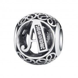 Abalorio de plata letra A con piedras de zirconia