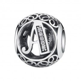 Zilveren bedel letter A met zirkonia steentjes