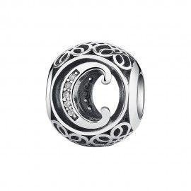 Zilveren bedel letter C met zirkonia steentjes