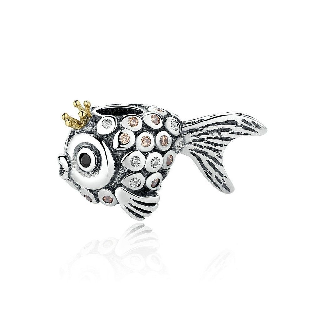 Sterling silver charm crown fish