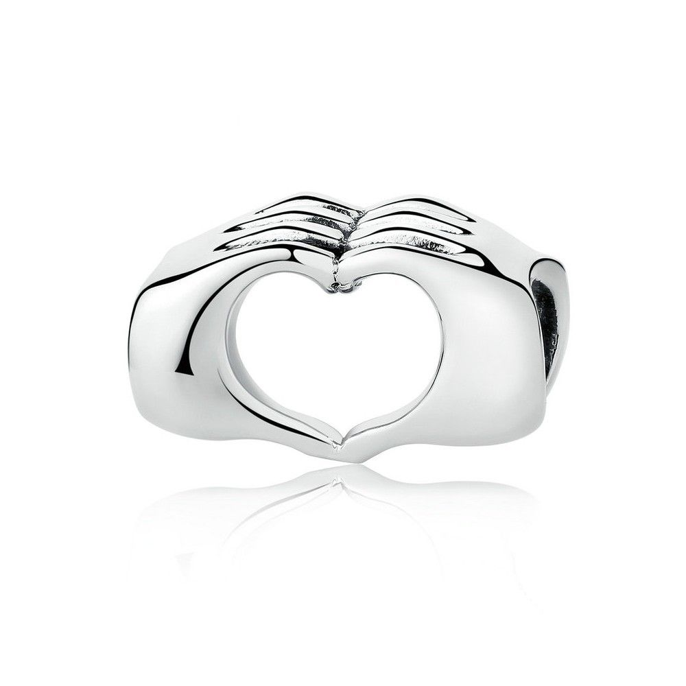 Sterling silver charm Heart with closed hands