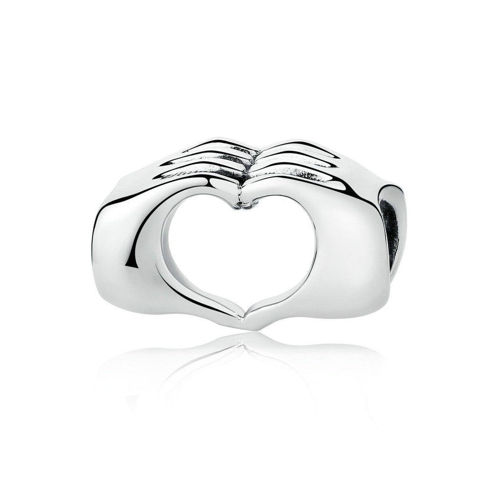 Zilveren bedel hart met gesloten handen