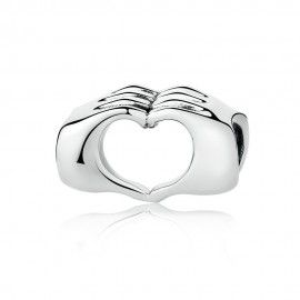 Sterling Silber Charm Herz mit geschlossenen Händen