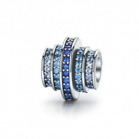 Zilveren bedel blauw wiel met zirkonia