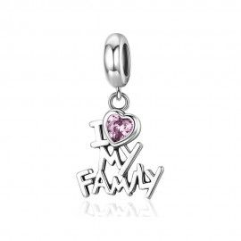 Sterling silver pendant charm I love my family