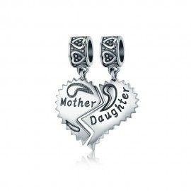 Zilveren bedel Moeder-en dochterliefde