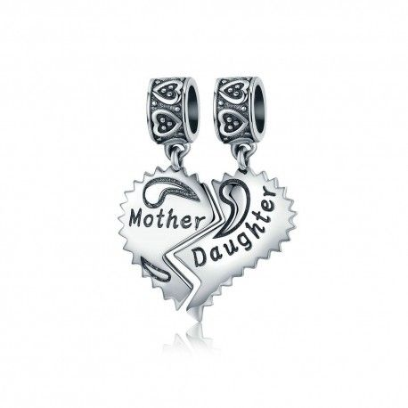 Sterling silver pendant Mother and daughter love