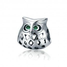 Sterling silver charm Owl with zirconia