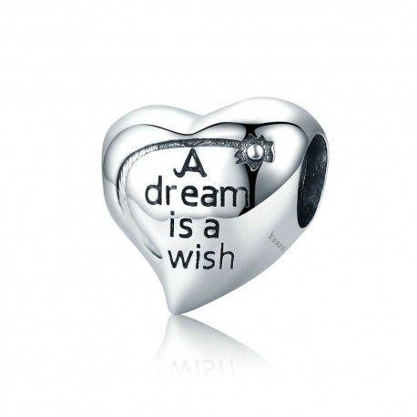 Zilveren bedel Een droom is een wens