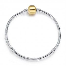 Silver plated snake bracelet with gold plated clasp