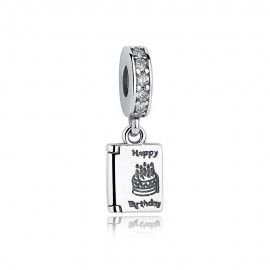 Sterling silver pendant charm Happy birthday cake