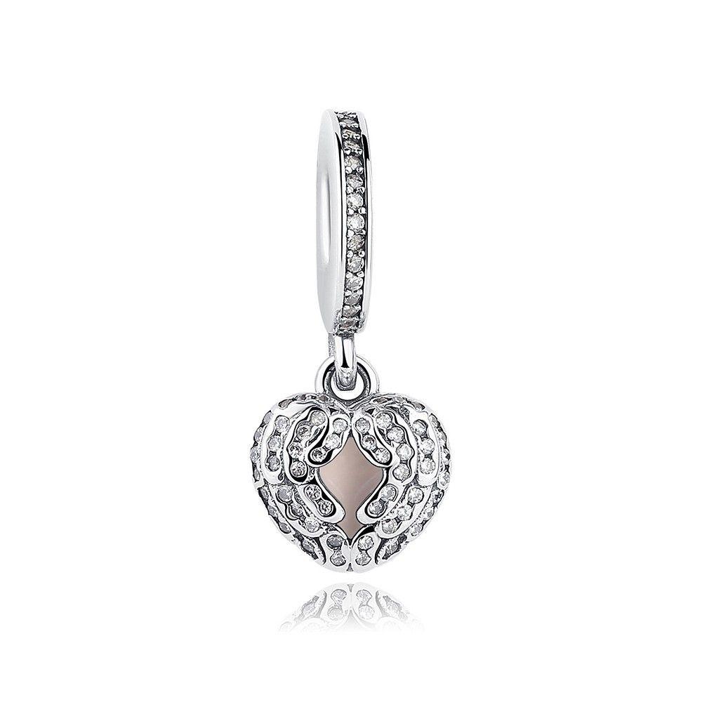 Sterling silver pendant Angel wings heart
