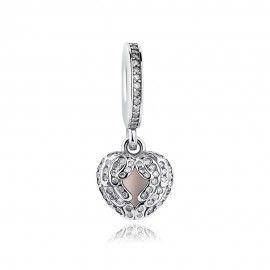 Zilveren hangende bedel Hart met engelenvleugels