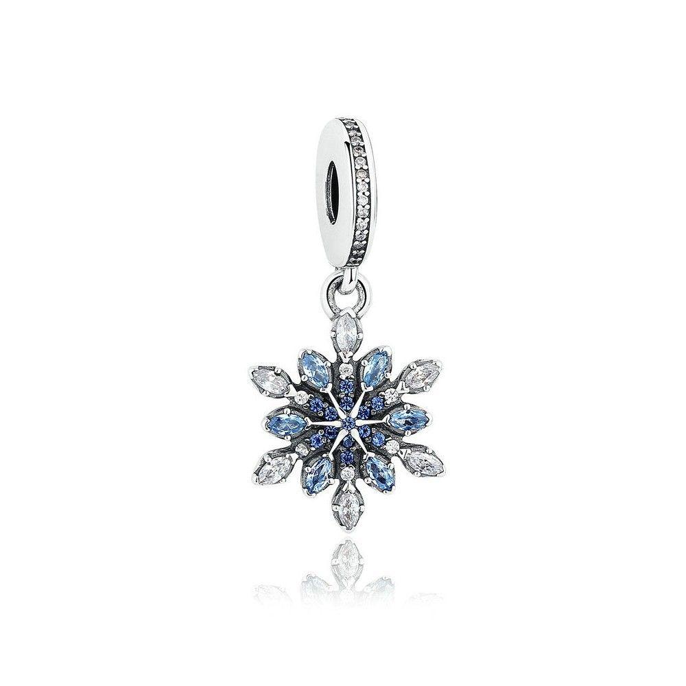Zilveren hangende bedel Blauwe bloem