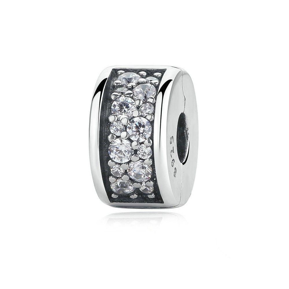 Zilveren clip  met zirkonia Glanzende elegantie
