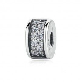 Clip in argento con zirconia Splendente eleganza