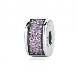 Zilveren clip met roze zirkonia Glanzende elegantie