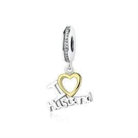 Sterling silver pendant charm I love my husband