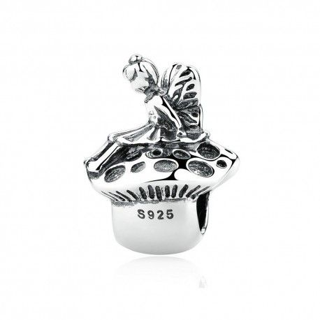 Sterling silver charm Angel on mushroom
